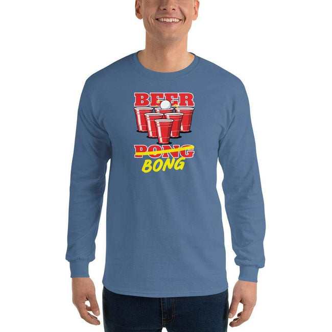 Indigo Blue / S Bengali Ultra Cotton Long Sleeve T-Shirt -Beer Bong