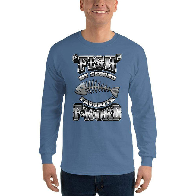 Indigo Blue / S Bengali Ultra Cotton Long Sleeve T-Shirt - F for Fish