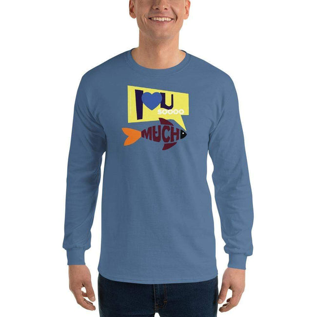 Indigo Blue / S Bengali Ultra Cotton Long Sleeve T-Shirt - I love you so much