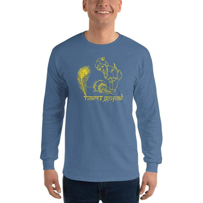 Indigo Blue / S Bengali Ultra Cotton Long Sleeve T-Shirt - Naru Gopal