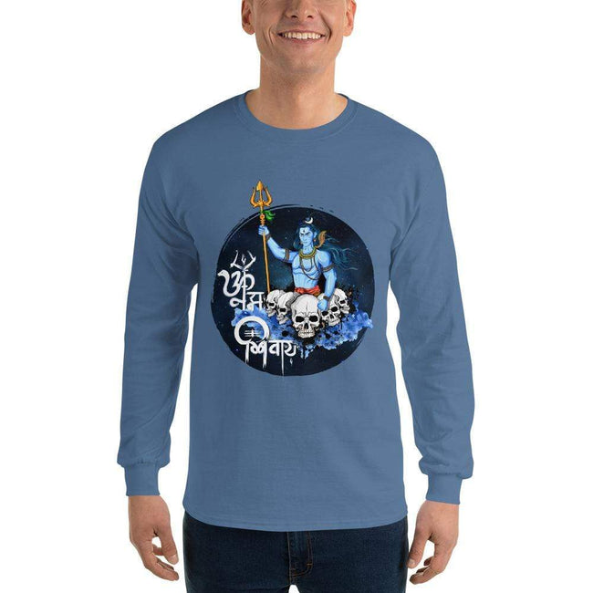 Indigo Blue / S Bengali Ultra Cotton Long Sleeve T-Shirt - Om Namah Shivay-01