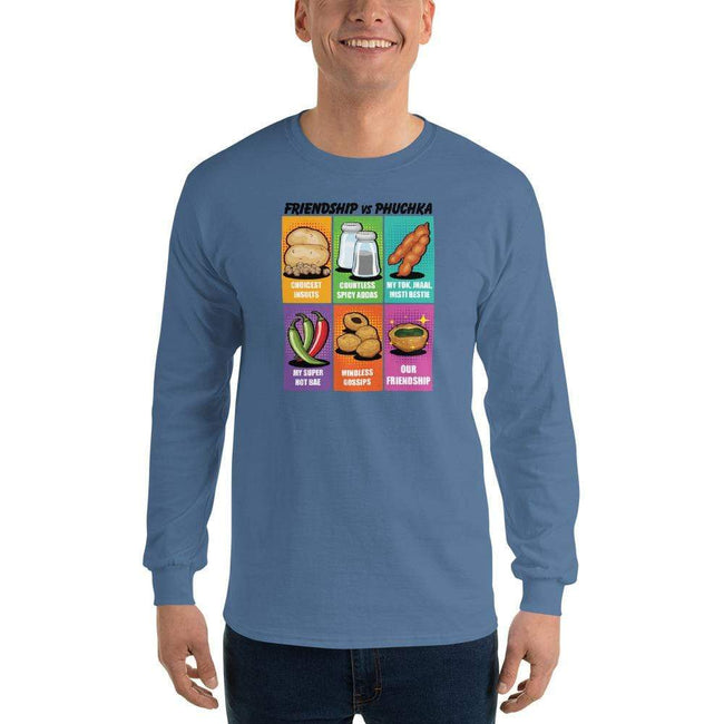 Indigo Blue / S Bengali Ultra Cotton Long Sleeve T-Shirt -Phuchka and Friends