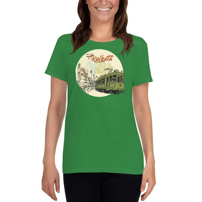 Irish Green / S Bengali Heavy Cotton Short Sleeve T-Shirt - My Kolkata Tram