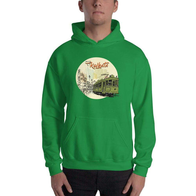 Irish Green / S Bengali Unisex Heavy Blend Hooded Sweatshirt - Khol Dwar Khol- My Kolkata Tram