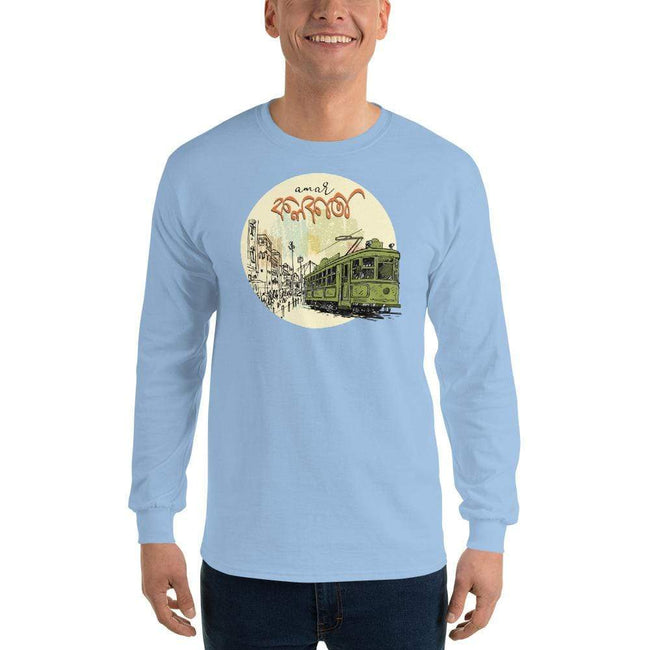 Light Blue / S Bengali Ultra Cotton Long Sleeve T-Shirt - Amar Kolkata Tram