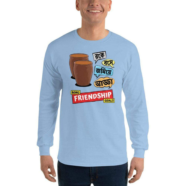Light Blue / S Bengali Ultra Cotton Long Sleeve T-Shirt -Bong Friendship Goals