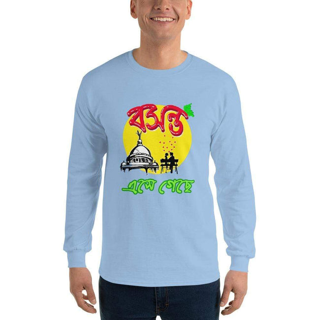 Light Blue / S Bengali Ultra Cotton Long Sleeve T-Shirt - Bosonto Ese Gache