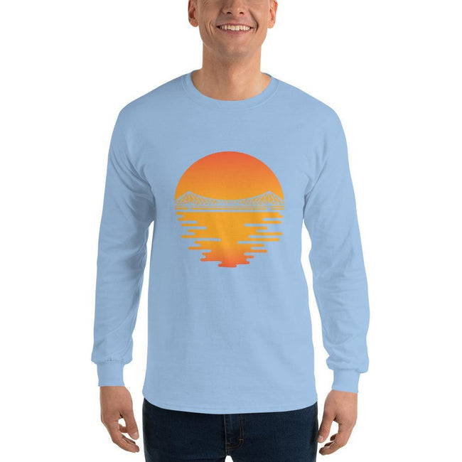 Light Blue / S Bengali Ultra Cotton Long Sleeve T-Shirt - Howrah by the Dawn