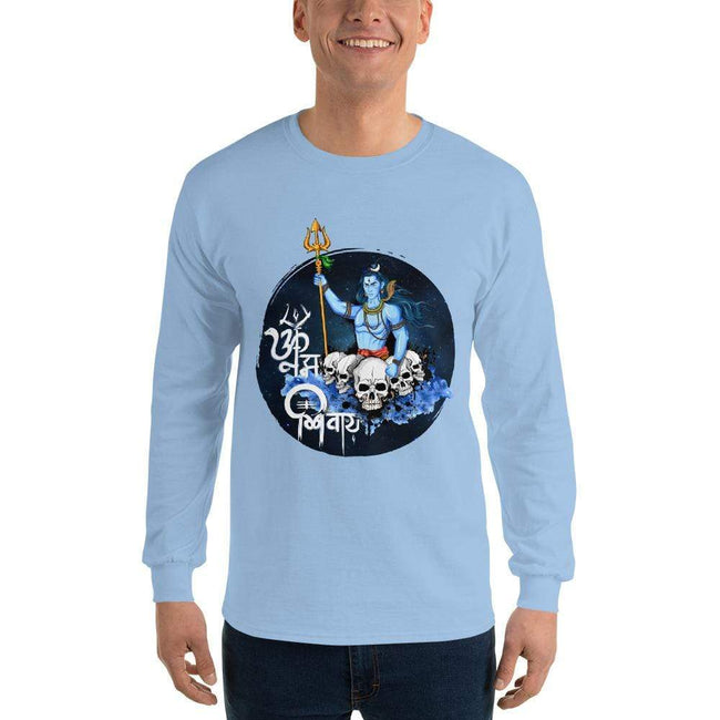 Light Blue / S Bengali Ultra Cotton Long Sleeve T-Shirt - Om Namah Shivay-01