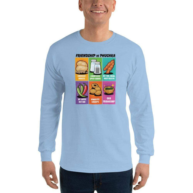 Light Blue / S Bengali Ultra Cotton Long Sleeve T-Shirt -Phuchka and Friends