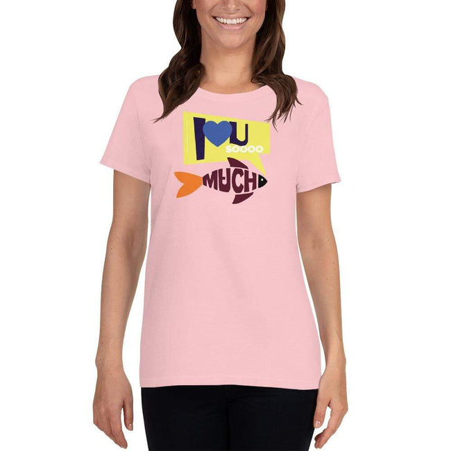 Light Pink / S Bengali Heavy Cotton Short Sleeve T-Shirt -I love you so much
