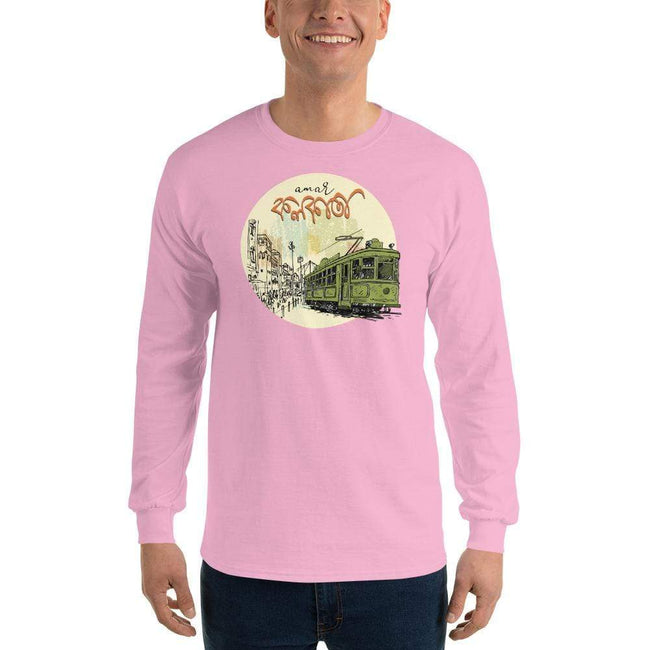 Light Pink / S Bengali Ultra Cotton Long Sleeve T-Shirt - Amar Kolkata Tram