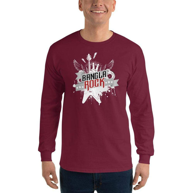 Maroon / S Bengali Ultra Cotton Long Sleeve T-Shirt -Bangla Rock