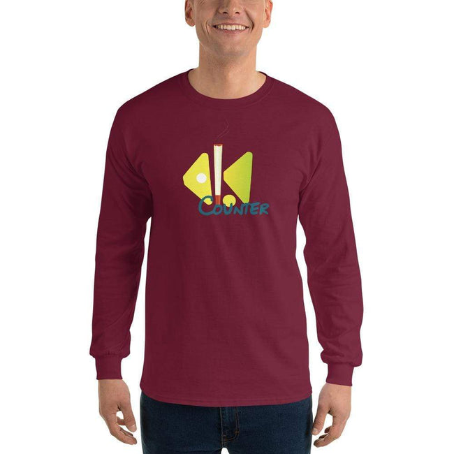 Maroon / S Bengali Ultra Cotton Long Sleeve T-Shirt - Bar Counter