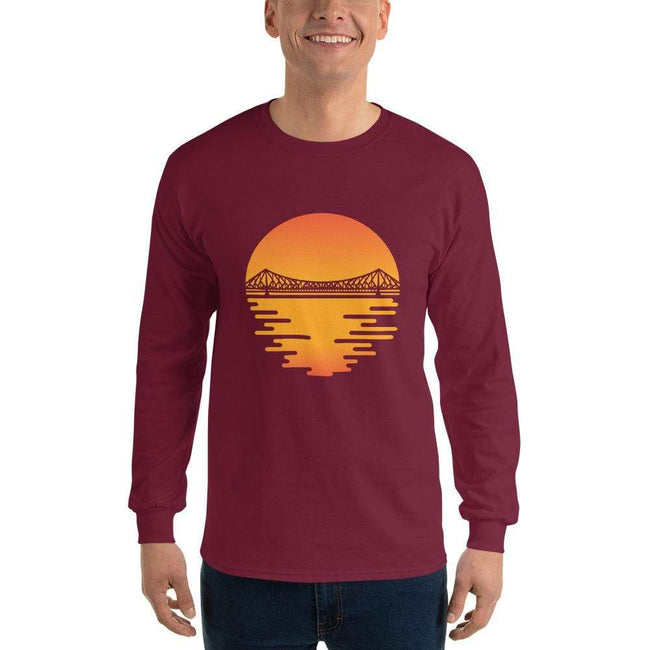 Maroon / S Bengali Ultra Cotton Long Sleeve T-Shirt - Howrah by the Dawn