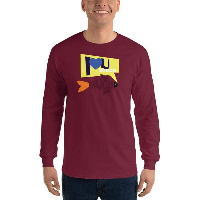 Maroon / S Bengali Ultra Cotton Long Sleeve T-Shirt - I love you so much