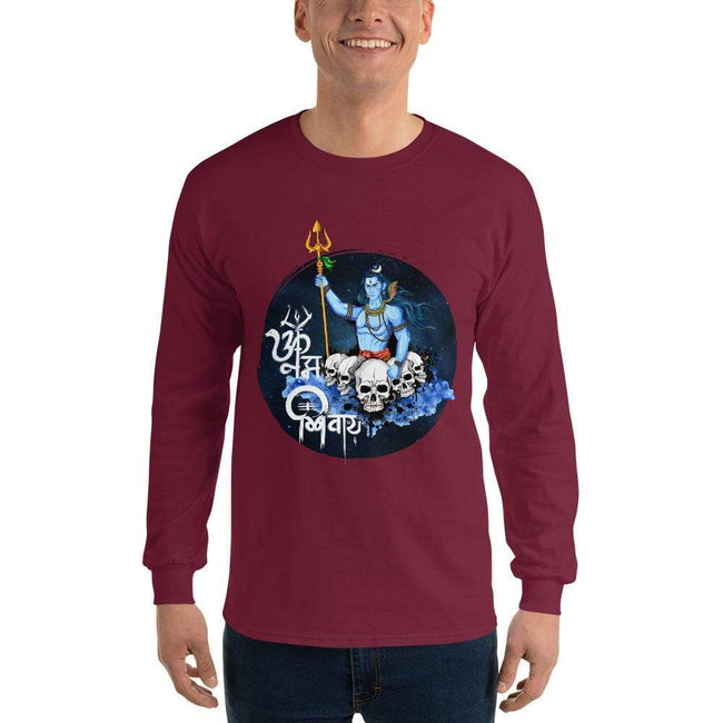 Maroon / S Bengali Ultra Cotton Long Sleeve T-Shirt - Om Namah Shivay-01
