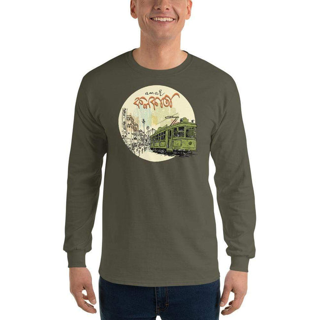 Military Green / S Bengali Ultra Cotton Long Sleeve T-Shirt - Amar Kolkata Tram