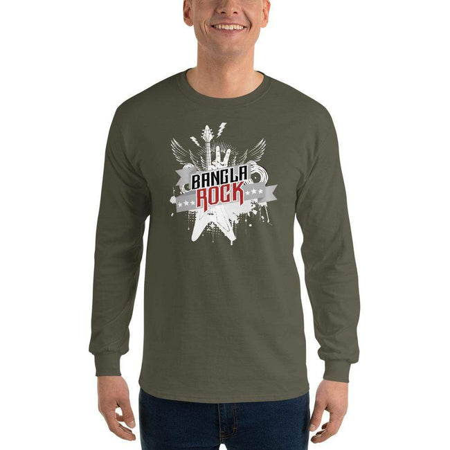 Military Green / S Bengali Ultra Cotton Long Sleeve T-Shirt -Bangla Rock