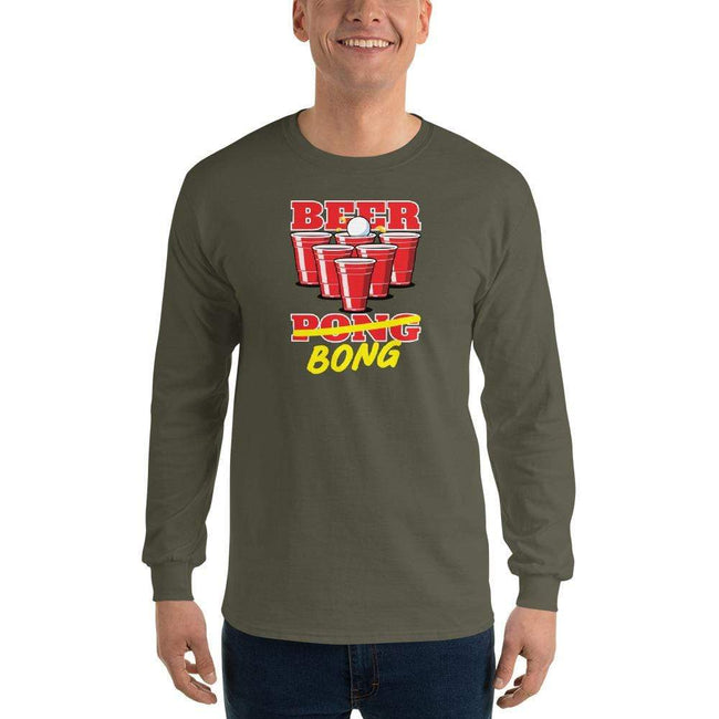 Military Green / S Bengali Ultra Cotton Long Sleeve T-Shirt -Beer Bong