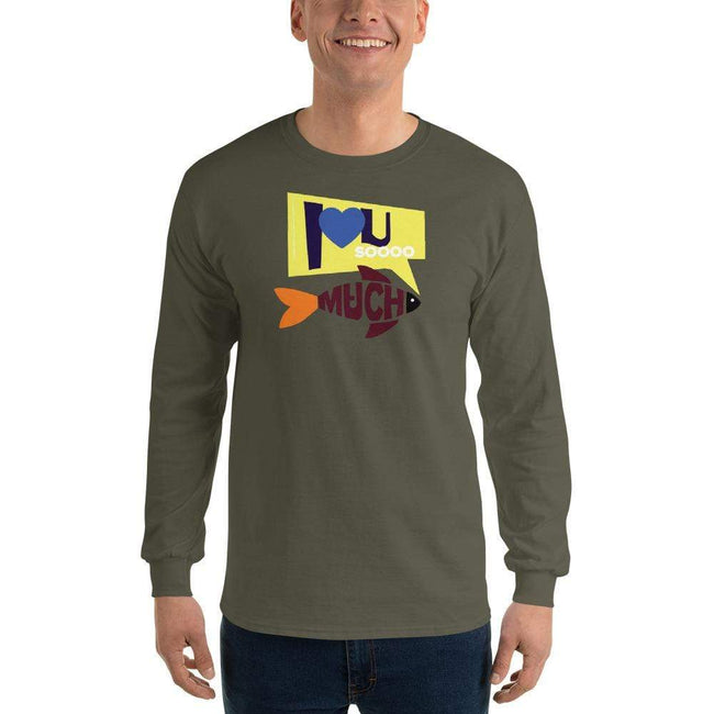 Military Green / S Bengali Ultra Cotton Long Sleeve T-Shirt - I love you so much