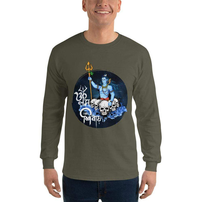Military Green / S Bengali Ultra Cotton Long Sleeve T-Shirt - Om Namah Shivay-01