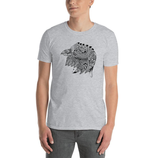Men's Round Neck T Shirt - Eagle Doodle- Black & White
