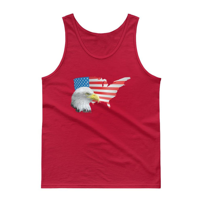 Men's Classic Tank Top - Eagle- USA Map with Flag