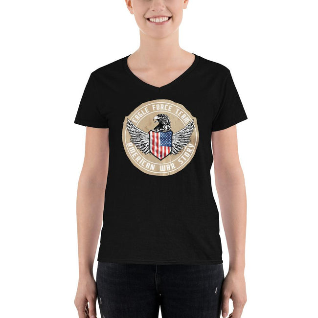 Women's V-Neck T-shirt - Eagle Force Team- American War Story