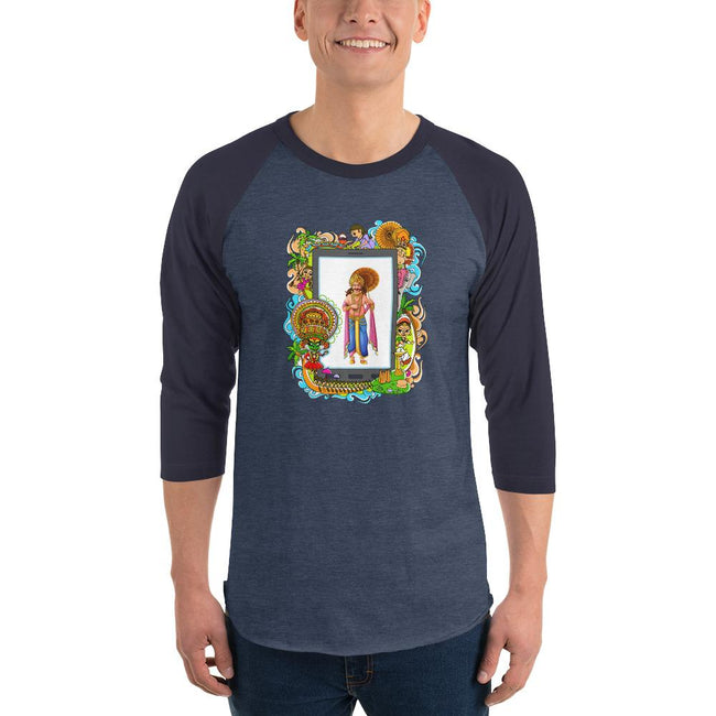 Men's 3/4th Sleeve Raglan T- Shirt - Onam- Mahabali