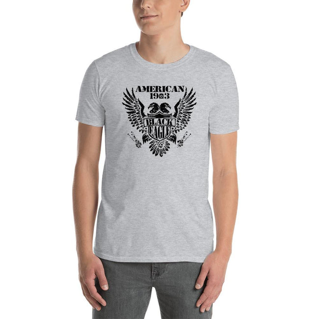 Men's Round Neck T Shirt - Black Eagle- American