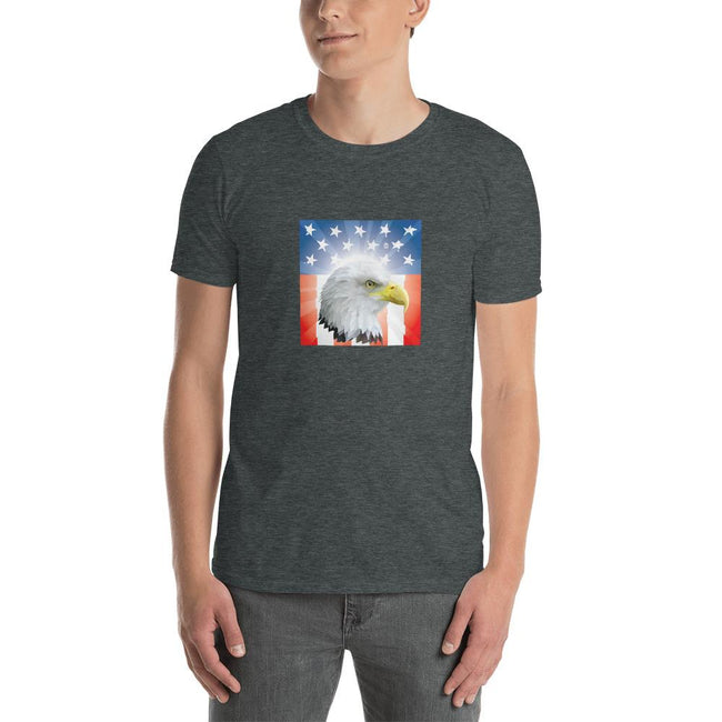 Men's Round Neck T Shirt - Shining- Eagle & Star Spangled Banner