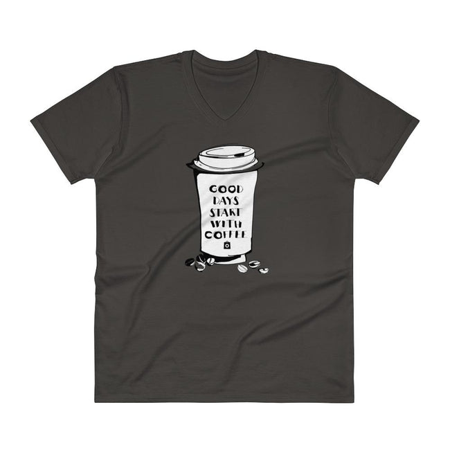Men's V- Neck T Shirt - Good days start with coffee- Takeaway cup