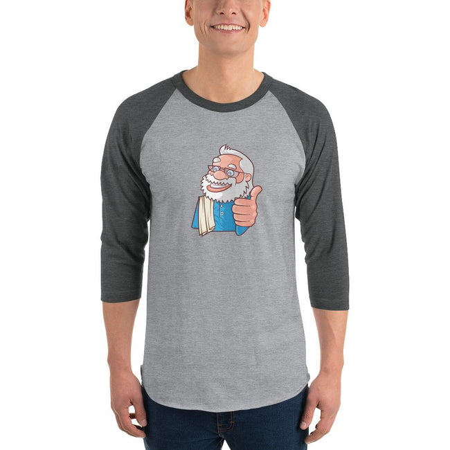 Men's 3/4th Sleeve Raglan T- Shirt - Namo- Cartoon -Thumbs up