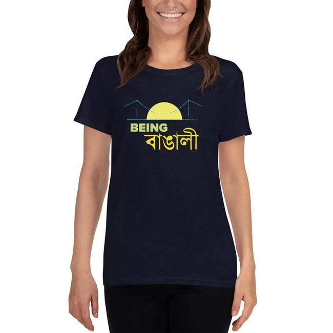 Navy / S Bengali Heavy Cotton Short Sleeve T-Shirt -Being Bangali