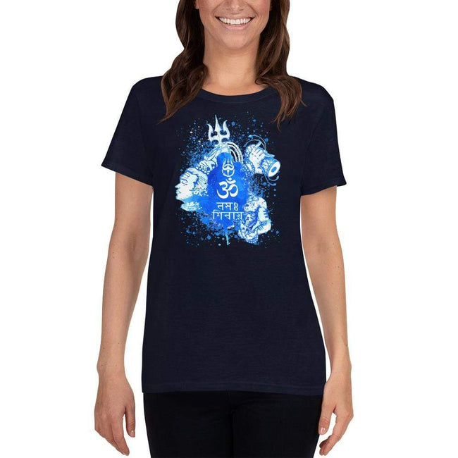 Navy / S Bengali Heavy Cotton Short Sleeve T-Shirt -Om Namah Shivay-03