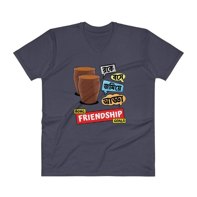 Navy / S Bengali Lightweight Fashion V-Neck T-Shirt - Bong Friendship Goals