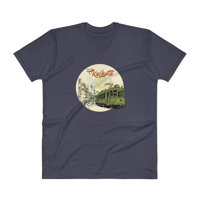 Navy / S Bengali Lightweight Fashion V-Neck T-Shirt - My Kolkata Tram