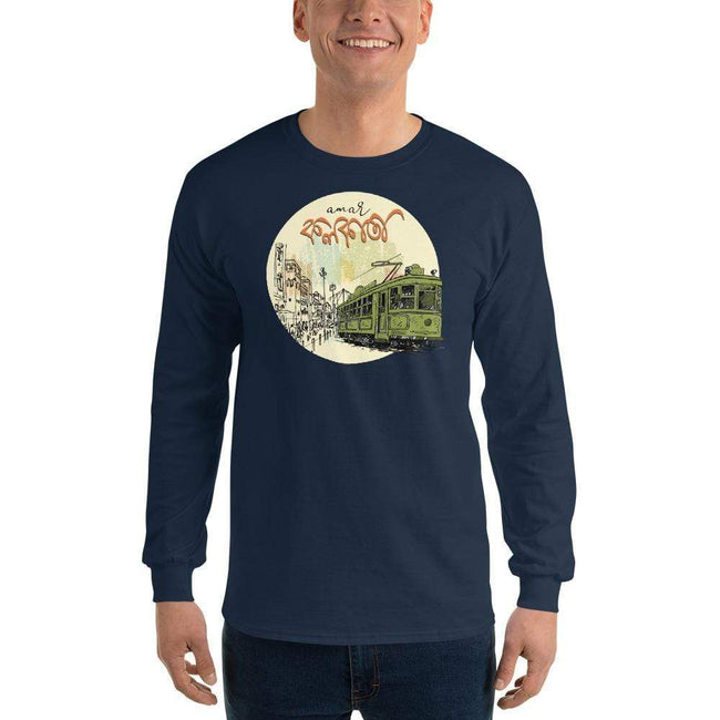 Navy / S Bengali Ultra Cotton Long Sleeve T-Shirt - Amar Kolkata Tram