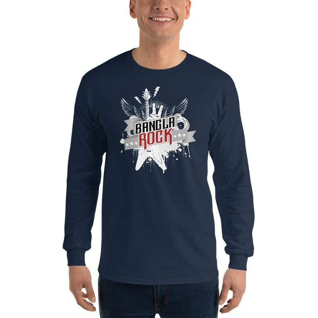 Navy / S Bengali Ultra Cotton Long Sleeve T-Shirt -Bangla Rock