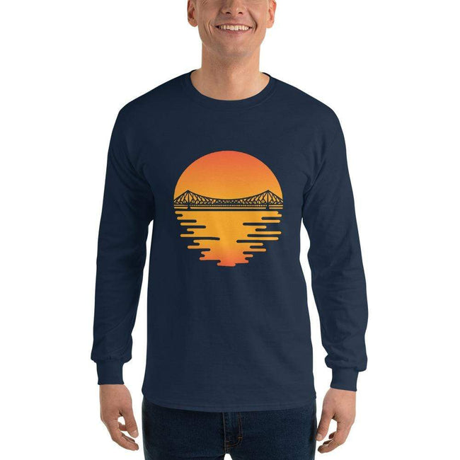 Navy / S Bengali Ultra Cotton Long Sleeve T-Shirt - Howrah by the Dawn