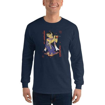 Navy / S Bengali Ultra Cotton Long Sleeve T-Shirt - Kalankini Radha