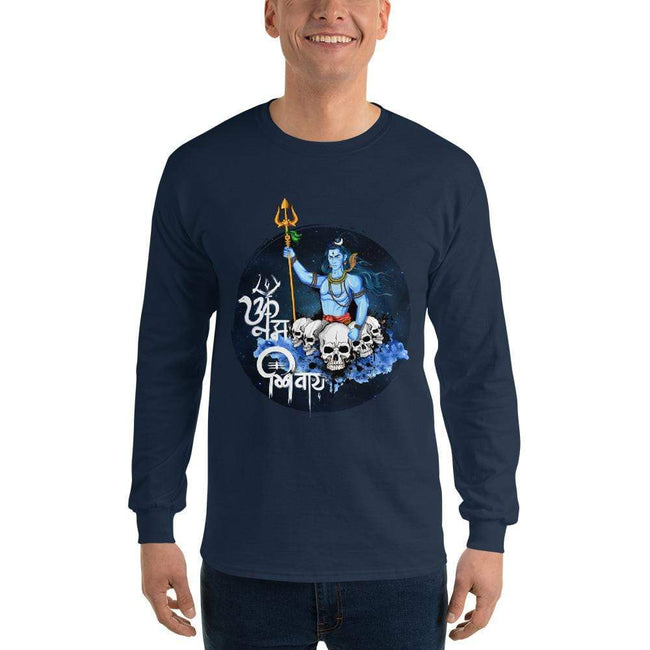 Navy / S Bengali Ultra Cotton Long Sleeve T-Shirt - Om Namah Shivay-01