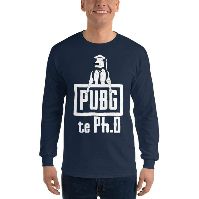 Navy / S Bengali Ultra Cotton Long Sleeve T-Shirt - PUBG Te PHD