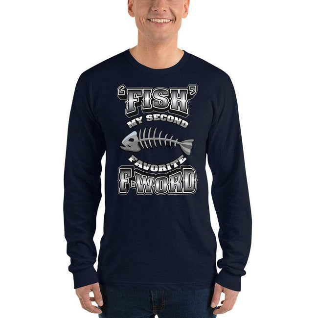 Navy / S Bengali Unisex Fine Jersey Long Sleeve T-Shirt - F for Fish