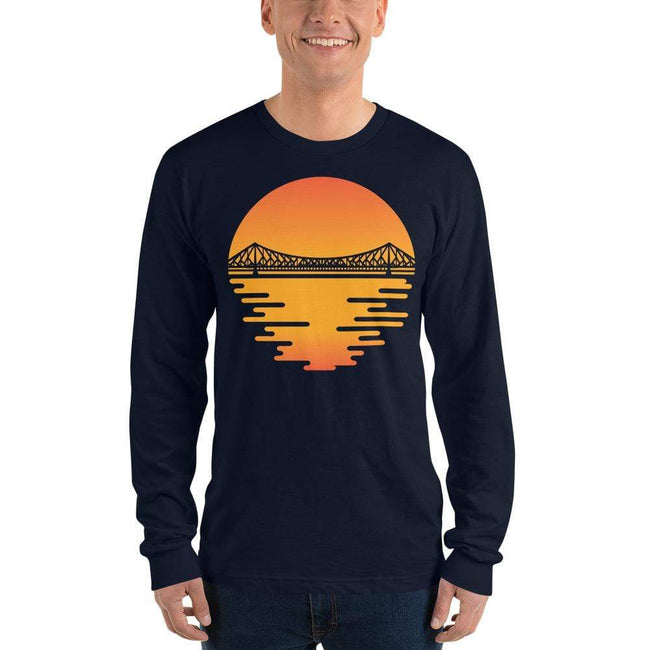 Navy / S Bengali Unisex Fine Jersey Long Sleeve T-Shirt - Howrah by the Dawn