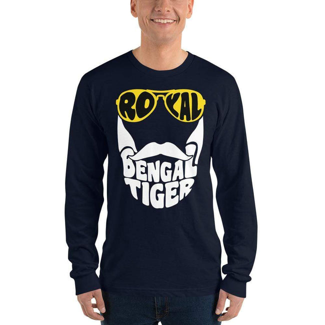 Navy / S Bengali Unisex Fine Jersey Long Sleeve T-Shirt - Royal Bengal Tiger