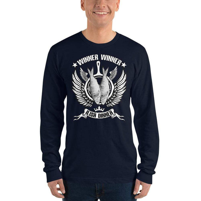 Navy / S Bengali Unisex Fine Jersey Long Sleeve T-Shirt - Winner Winner Ilish Dinner