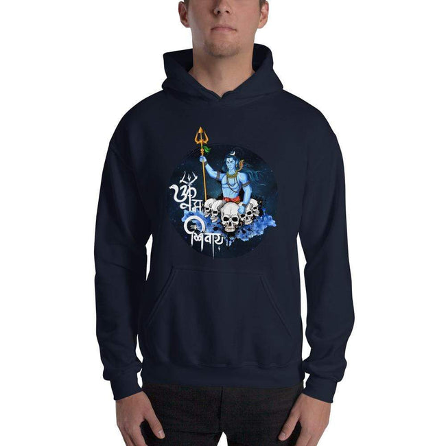 Navy / S Bengali Unisex Heavy Blend Hooded Sweatshirt - Om Namah Shivay-01
