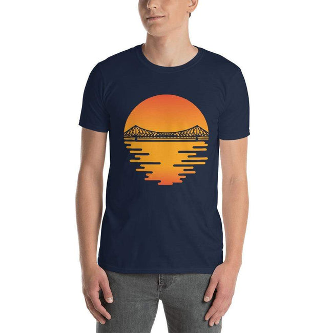 Navy / S Bengali Unisex Softstyle T-Shirt - Howrah by the Dawn